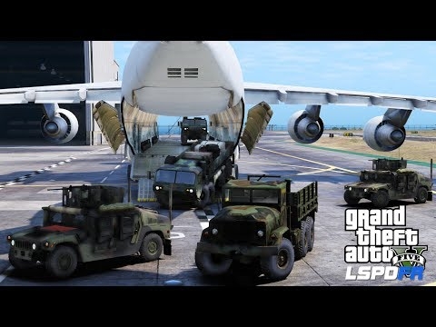 GTA 5 LSPDFR Military Escort Patrol| Air Force Cargo Plane Unloading Convoy Of Army Humvees & Trucks