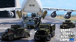 GTA 5 LSPDFR Military Escort Patrol| Air Force Cargo Plane Unloading Convoy Of Army Humvees & Trucks
