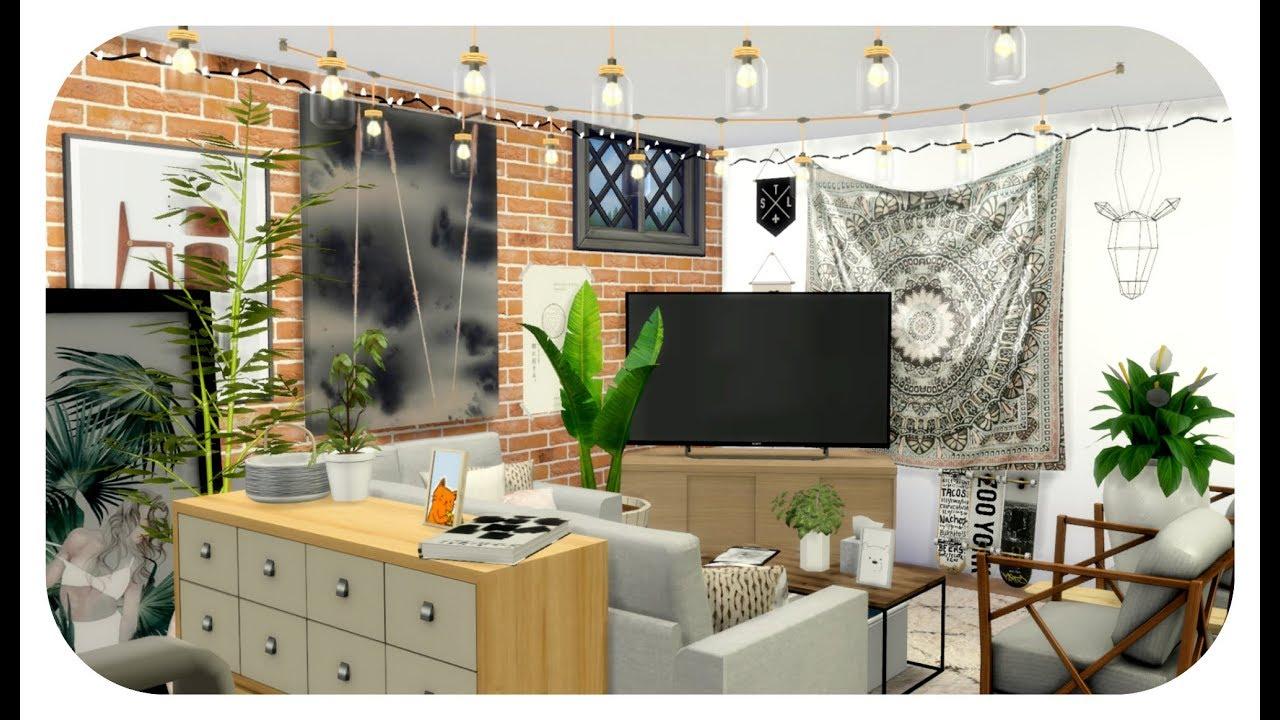 The Sims 4 | Apartment Build | Organic Bohemian Basement ...