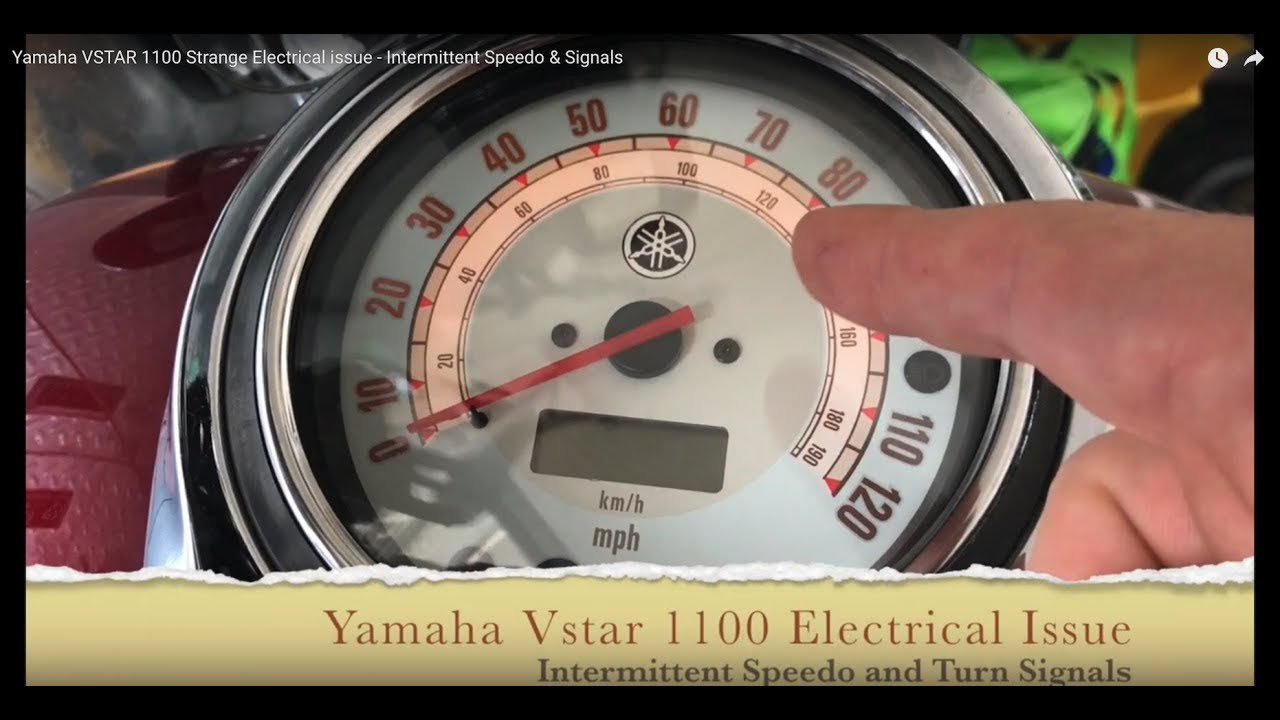 yamaha vstar 1100 strange electrical issue - intermittent speedo & signals  - youtube