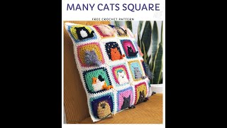 How to crochet Cat Pillow Case Cushion Cover with easy Granny Square pattern part1
