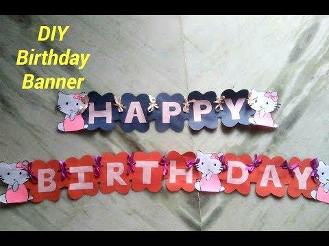 Happy Birthday Banner at home #Hello Kitty # DIY