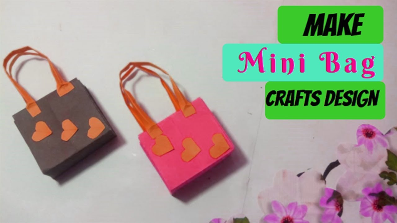Tutorial mini paper bag making at home simple and easy diy fancy bag crafts design youtube for How to make designer bags at home