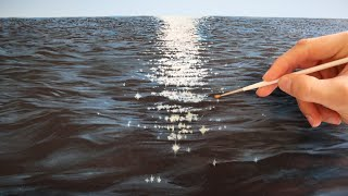 How to paint water - realistic water reflection wave painting tutorial