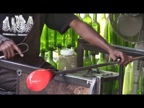 Glass Blowers At The Arusha, Tanzania, Shanga River House Create A Water Pitcher