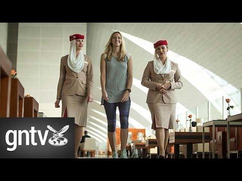 Czech tennis player Petra Kvitová visits Dubai Airport's Emirates Lounge