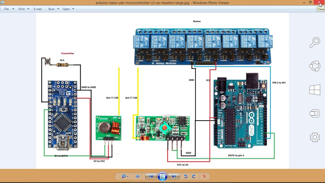 control 8 channel relay module with 433MHz wireless transmitter and receiver