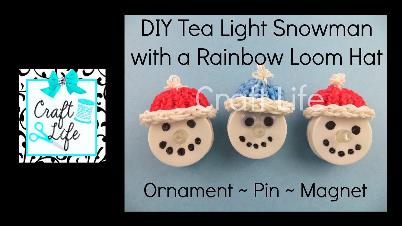 Craft Life DIY Tea Light Snowman Tutorial With A Hat Made On A Rainbow Loom    YouTube