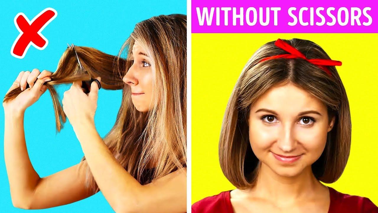 12 GENIUS HAIR HACKS WITHOUT SCISSORS