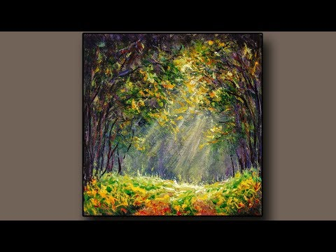 Easy Art Tutorial/Road in the sunny forest Painting/Time Lapse Demo/Daily Art Therapy /Day #0758
