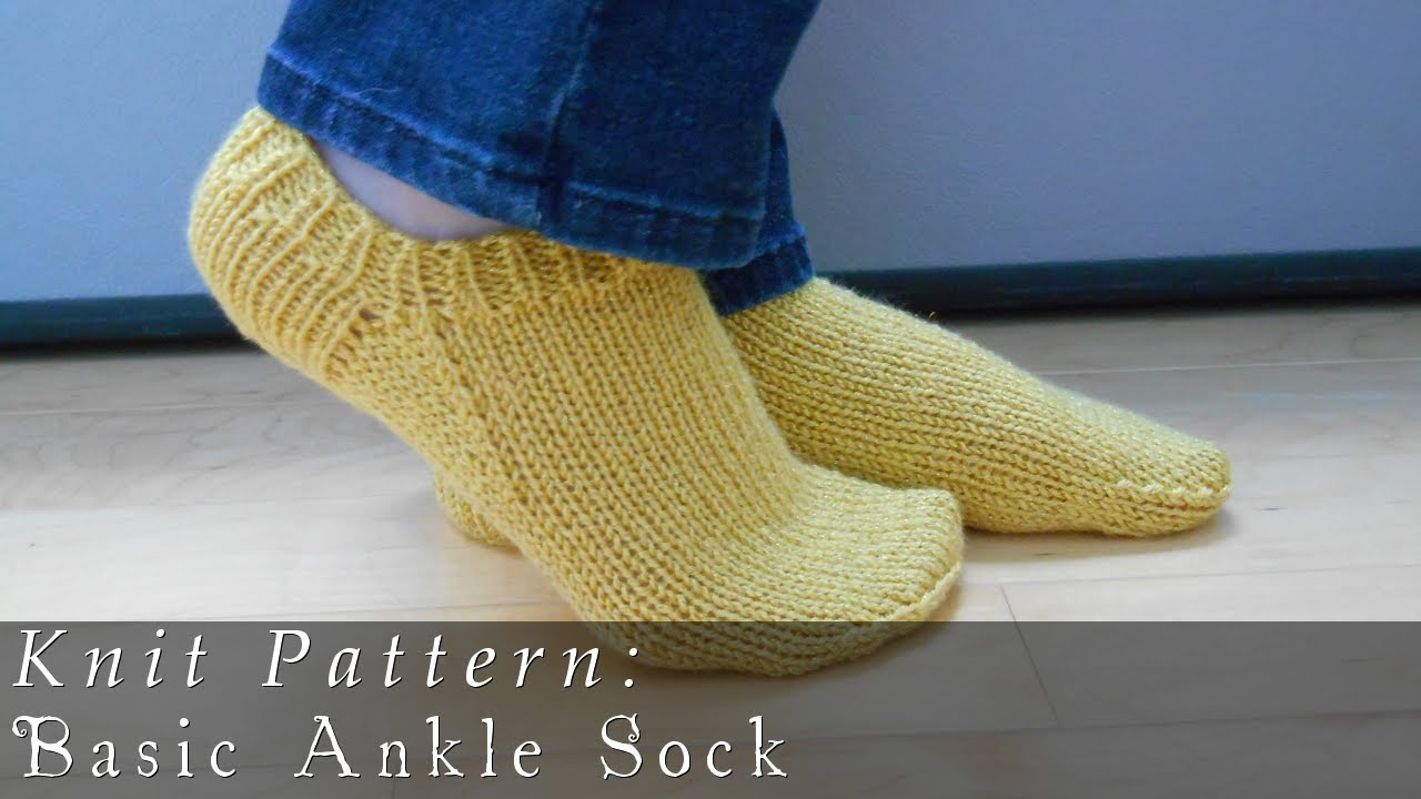 Easy Knitting Pattern For Mens Socks : Basic Ankle Sock Knit Pattern - YouTube
