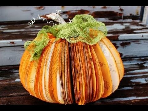 Halloween fall decorations make pumpkins out of old books for Easy halloween crafts to make and sell