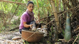Cooking bamboo shoot with chili in my village