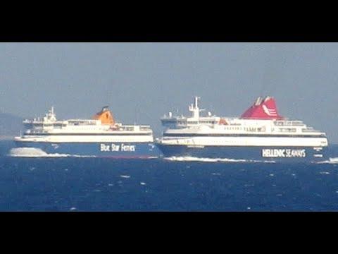 """Blue Star Naxos & Nissos Mykonos """"κοντράρονται"""" στο Αιγαίο - (Head to Ηead)"""