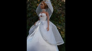 Платье. Белое свадебное платье для куклы. White wedding dress. Weißen Brautkleid.
