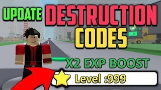 UPDATE LEVEL XP CODES IN ROBLOX DESTRUCTION SIMULATOR