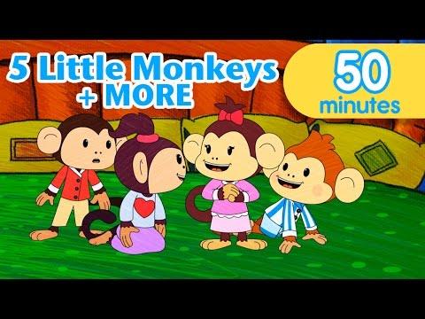 Five Little Monkeys Jumping on the Bed - ELF Learning - Nursery Rhymes
