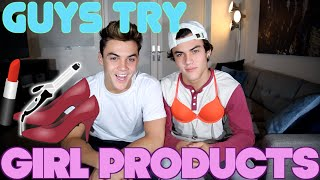 GUYS try GIRL PRODUCTS // Dolan Twins
