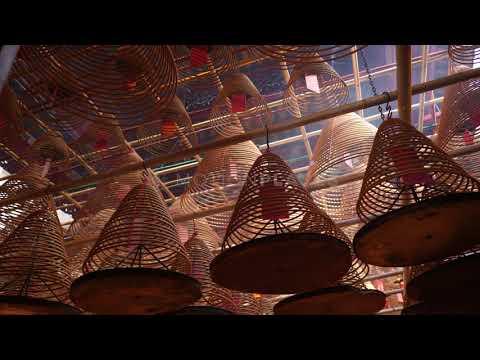Hong Kong Man Mo Temple Incense Free Stock Footage