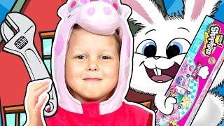 СВИНКА ПЕППА Помогаем Кролику Снежку починить дом МЕГАНАБОР Шопкинсы Папа Свин Мультики Peppa Pig