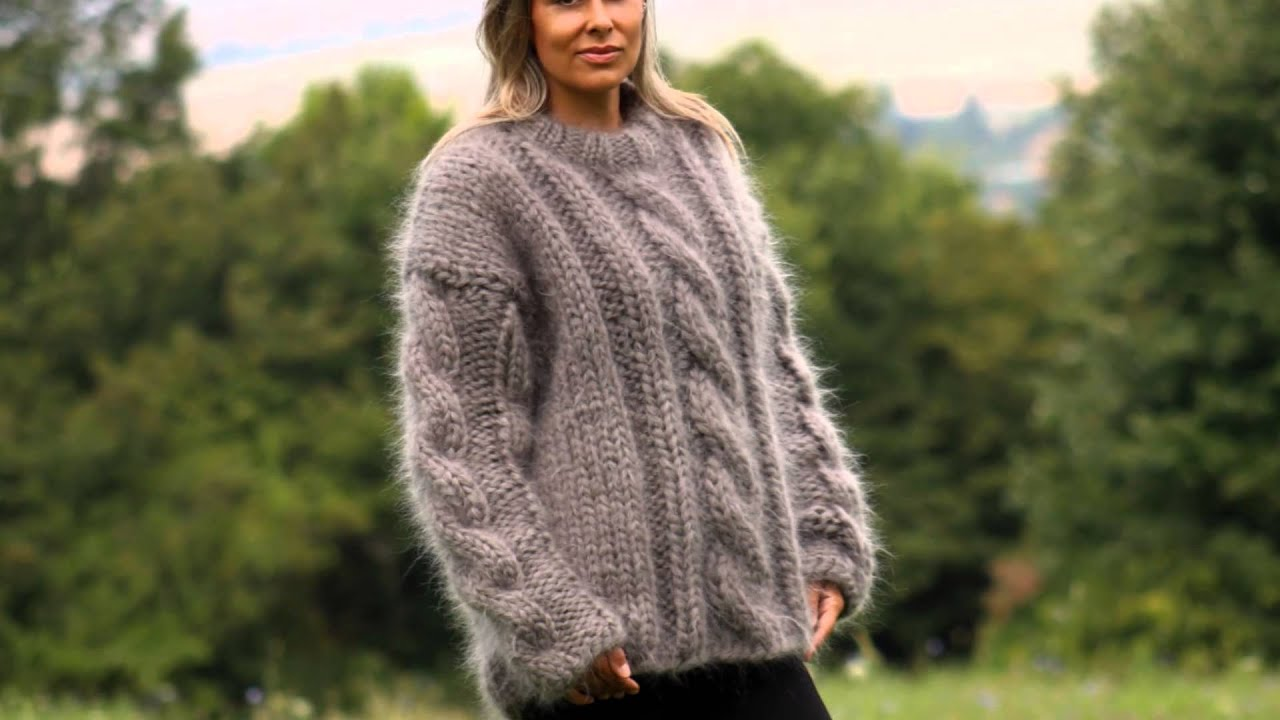 HAND KNITTED MOHAIR SWEATER by EXTRAVAGANTZA - YouTube