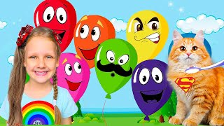 Play with Balloons ! Kids and daddy have fun playtime with color song