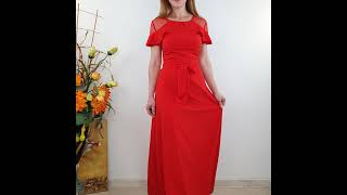 Красное длинное платье в пол