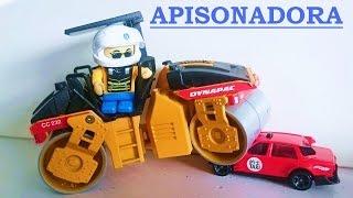 Máquinas de construcción. APISONADORA CILINDRO COMPACTADORA APLANADORA vídeo para niños obras