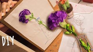 Clavel bordado a mano paso a paso/carnation handmade embroidery/cravo bordado em fitas/ dia de madre thumbnail