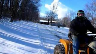 snow plowing with the 1991 2082 cub cadet super garden tractor