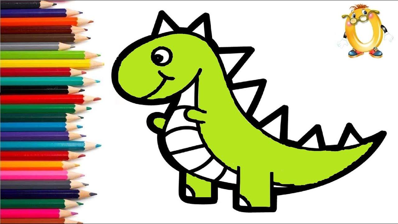 Раскраска для детей ДИНОЗАВРИК. Мультик - Раскраска. Учим ...