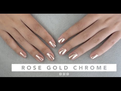 ROSE GOLD CHROME GEL NAIL TUTORIAL | ON NATURAL NAILS - YouTube