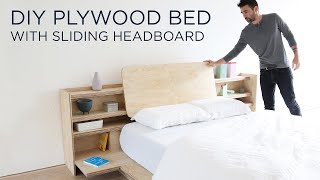DIY Plywood Bed with a Sliding Headboard