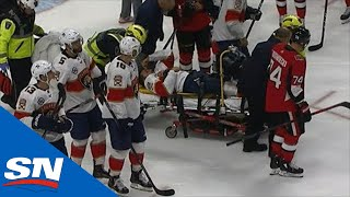 Panthers' Trocheck Stretchered Off The Ice After Brutal Leg Injury