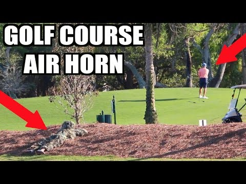 GHILLIE SUIT GOLF COURSE AIR HORN!! BEST MOMENTS!! **Prank Compilation**