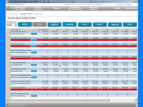 My Business Manager - Budgets,  3 of 3  - Balance Sheet