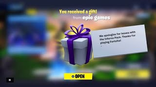 Fortnite sent me a gift and this is what I got! (free vbucks!) Fortnite inferno pack glitch reward!