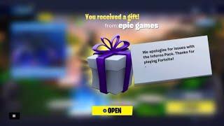 Fortnite m'a envoyé un cadeau et c'est ce que j'ai obtenu! (vbucks gratuits!) Fortnite inferno pack glitch récompense!