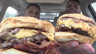 Eating Five Guys A1 Double Bacon Cheeseburgers @hodgetwins