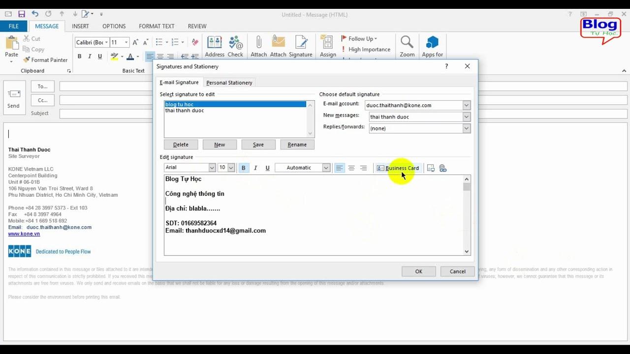 ✅Tạo và thêm chữ ký email trong Outlook trên web | BLOG TỰ HỌC.