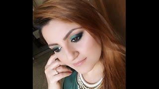 Deepika Padukone inspired green & black smokey eyes & nude lips -glamorous makeup