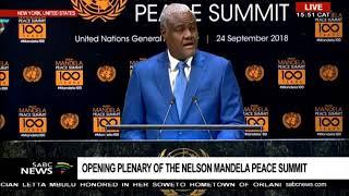 Moussa Faki Mahamat addresses the N Mandela Peace summit at UNGA