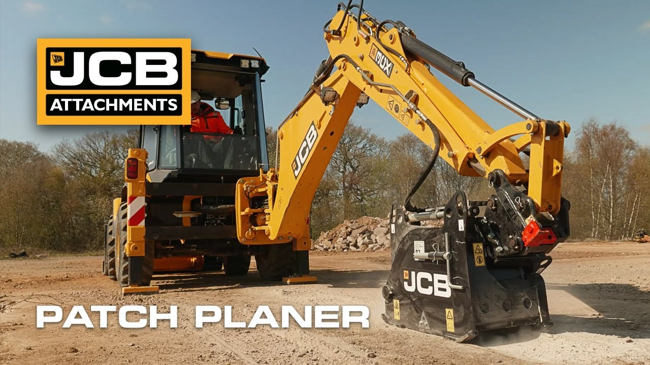 JCB Patch Planer Attachment Working on 3CX Compact Backhoe Loader