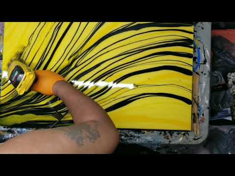 Resin Pour with mica and acrylic paint on Spray painted Yellow canvas 24x36