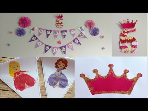 Diy easy birthday Party decorations with paper  | how to make princess birthday party decorations