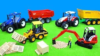 Tractor & Excavator Bruder | Farmer and Construction Vehicles | Toys on the Road | Unboxing for Kids
