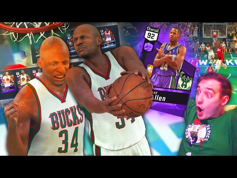 NBA 2K17 My Team RAY ALLEN DUNKING ON EVERYONE! THIS CARD SEEMS CHEESY!