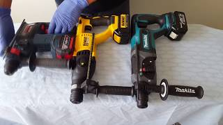 Bosch vs DeWalt vs Makita. Part 1. Cordless Rotary Hammer Drills RHH181 Bulldog, DCH133,  BHR241Z