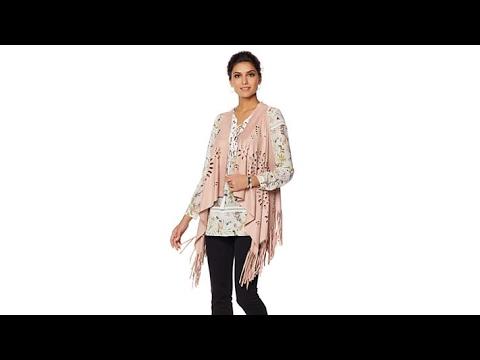 LaBellum By Hillary Scott Faux Suede LaserCut Vest