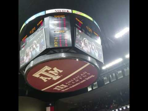 Aggie fans singing The Aggie War Hymn at Reed Arena